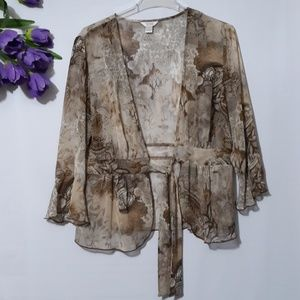 CHRISTOPHER & BANKS Floral Top Cardigan